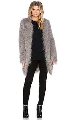 Mongolian Faux Fur Coat in Dove