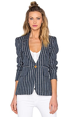 Patch Pocket Blazer in Indigo Pinstripe