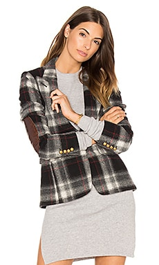Peaked Lapel Blazer in Grey Plaid