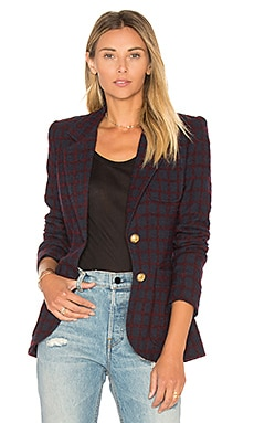 Two Button Blazer in Navy Maroon Grid