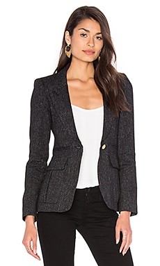 Peaked Lapel Inverted Pleat Pocket Blazer in Black Tweed