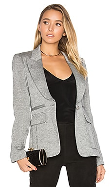 Peaked Lapel Inverted Pleat Pocket Blazer in Shark