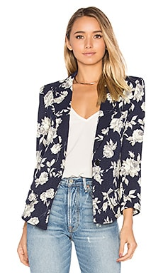 Sharp Shoulder Blazer in Navy Floral