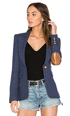 Peaked Lapel Blazer in Navy Pin Dot