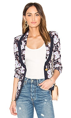 Border Peaked Lapel Blazer in Navy Floral