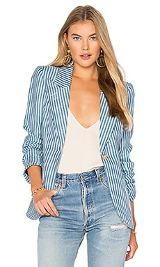 Patch Pocket Duchess Blazer in Tonal Blue Stripe