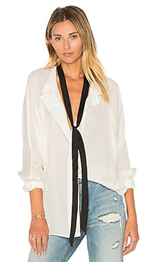 Tie Neck Shirt in White & Black