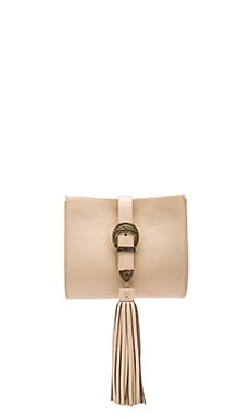 x Vanessa Mooney Buckle Clutch in Sand