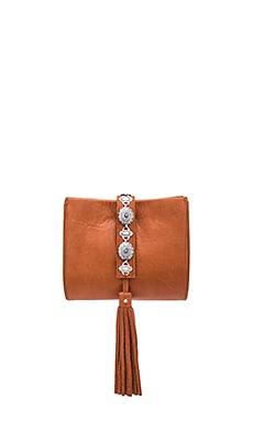 x Vanessa Mooney Conchos Clutch in Cognac