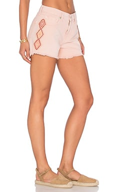 Embroidered Cut Off Short in Oasis