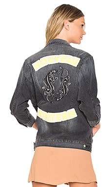 Embroidered Denim Jacket in Dark Grey