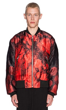 SKINGRAFT Blood Bomber Jacket in Red Print
