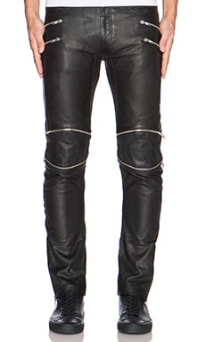 SKINGRAFT Leather Motocross Pants in Black