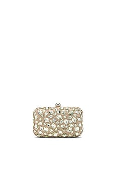 Santi Crystal Beaded Clutch in Taupe
