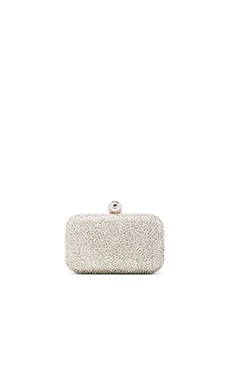 Santi Metallic Beaded Clutch in Silver