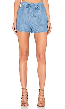 Mireille Tie Front Short in Vintage Chambray