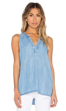 Carley B V Neck Tank in Vintage Chambray