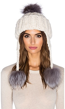SOH Handknit Natural Silver Fox Fur Pom Pom Trapper Beanie in Bone