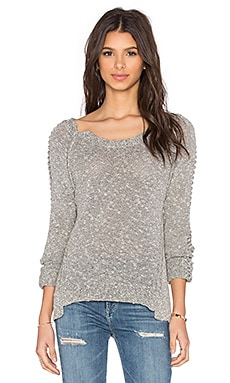 SOH Braided Long Sleeve Crew Neck Sweater in River Stone