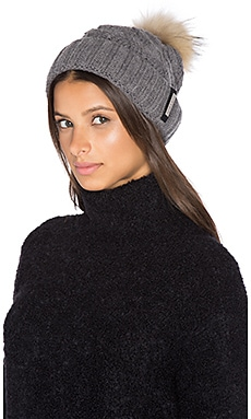 Amalie Hat With Asiatic Raccoon Fur Pompom in Ash