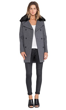 Soia & Kyo Jill Flat Wool & Faux Fur Coat in Grey