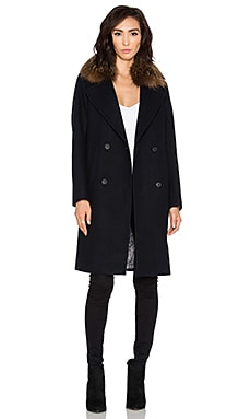 Soia & Kyo Farrah Coat with Natural Asiatic Raccoon Fur in Navy