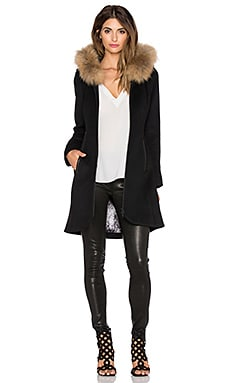 Soia & Kyo Charlene Jacket with Asiatic Raccoon Fur in Black
