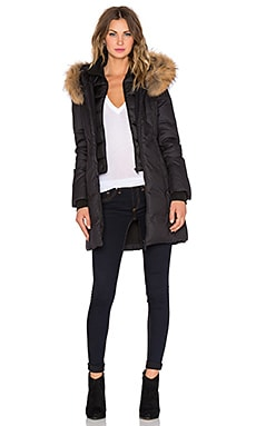 Soia & Kyo Chrissy Jacket with Fur Trimmed Hood in Black