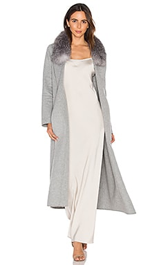 Daphne Coat with Silver Fox Fur Trim in Ash