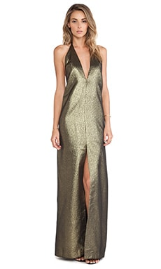 SOLACE London Piaggi Maxi Dress in Gold