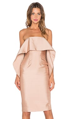 SOLACE London Bridget Midi Dress in Nude