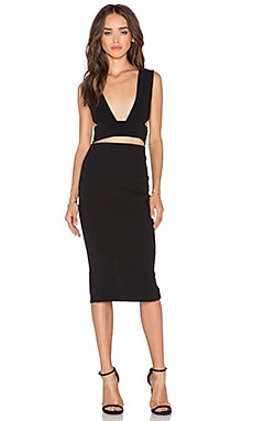 SOLACE London Knight Knee Length Dress in Black