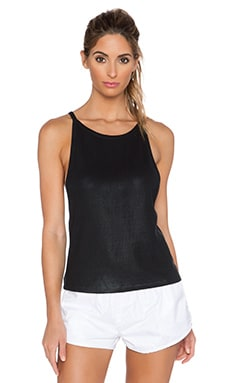SOLOW Coated Spaghetti Tank in Black