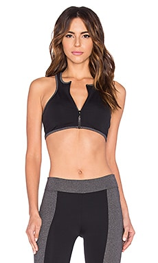 Zipped Sports Bra in Black