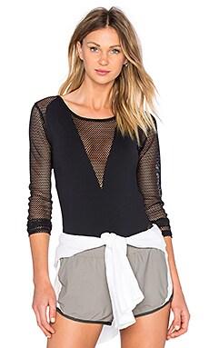 SOLOW Long Sleeve Mesh Bodysuit in Black