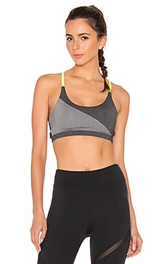 Invert Strapped Sports Bra in Charcoal & Chartreuse