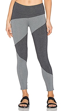 SOLOW Invert Capri Legging in Charcoal & Chartreuse