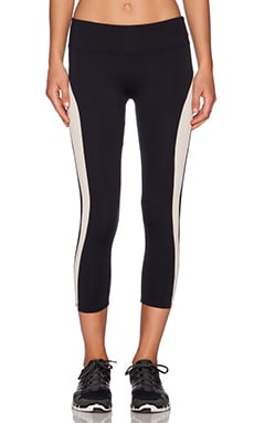 SOLOW Racer Stripe Capri Legging in Black & Blush
