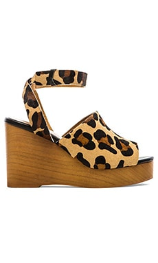 SOLES X SKIN Trey Cow Hair Wedge in Tan Leopard