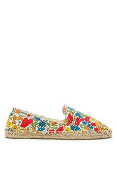Soludos Field Day Floral Espadrille en Red Multi
