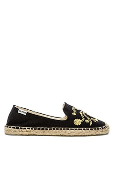 Soludos Embroidered Smoking Slipper in Black & Gold