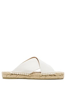 Soludos Criss Cross Platform Leather Sandal in White
