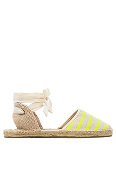 Soludos Classic Stripe Sandal in Neon Yellow