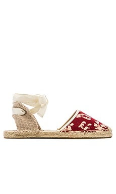 Soludos x WREN Batik Leaves Espadrilles in Red & White
