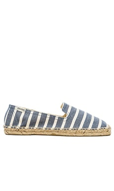 Soludos Classic Stripe Smoking Slipper in Light Navy & White