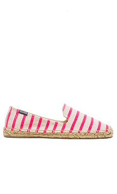 Soludos Classic Stripe Espadrille in Neon Pink Natural