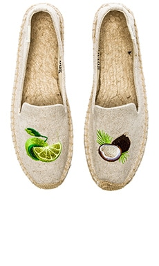 Soludos Lime & Coconut Embroidered Espadrille in Sand