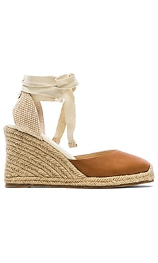 Soludos Leather Wedge in Tan Leather