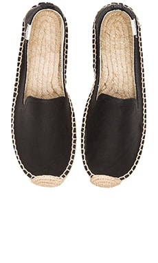 Soludos Smoking Slipper Platform Leather Espadrille in Black