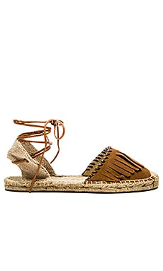 Soludos Leather Fringe Espadrille in Tobacco